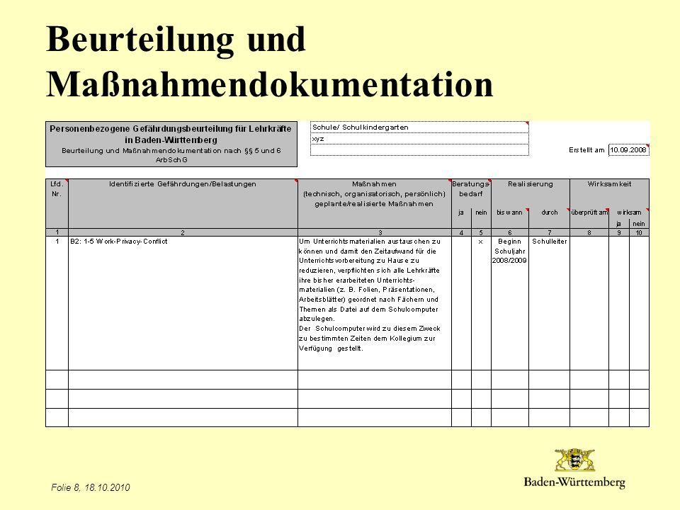 Beurteilung und Maßnahmendokumentation