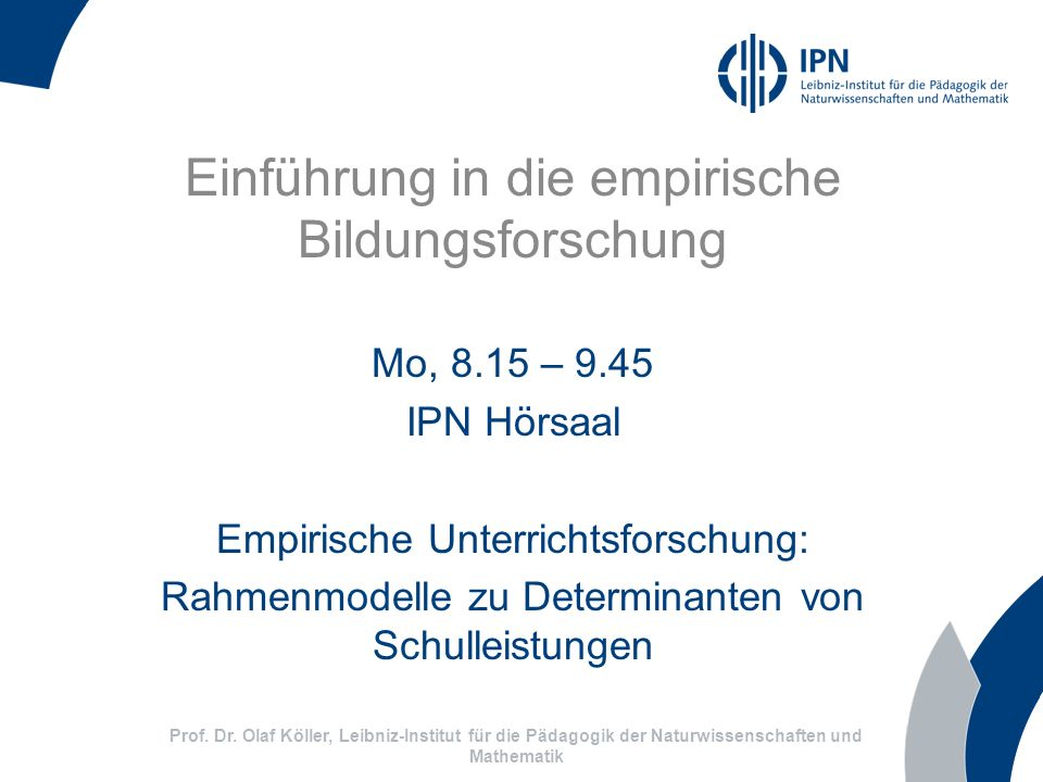 Einführung in die empirische Bildungsforschung