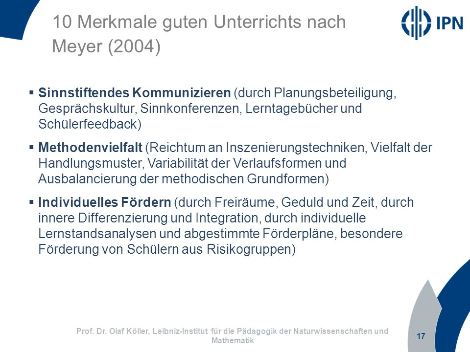 10 Merkmale guten Unterrichts nach Meyer (2004)