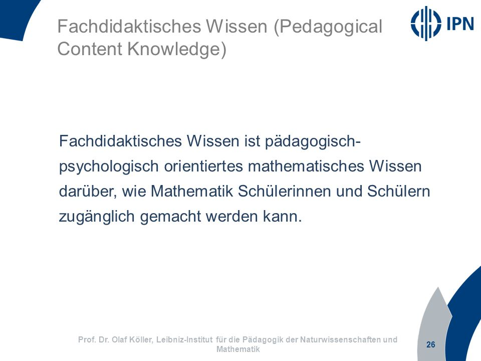 Fachdidaktisches Wissen (Pedagogical Content Knowledge)