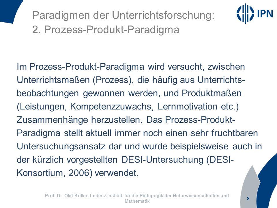 Paradigmen der Unterrichtsforschung: 2. Prozess-Produkt-Paradigma