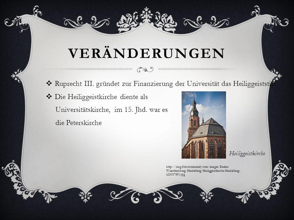 Veränderungen Ruprecht III. gründet zur Finanzierung der Universität das Heiliggeiststift. Die Heiliggeistkirche diente als.