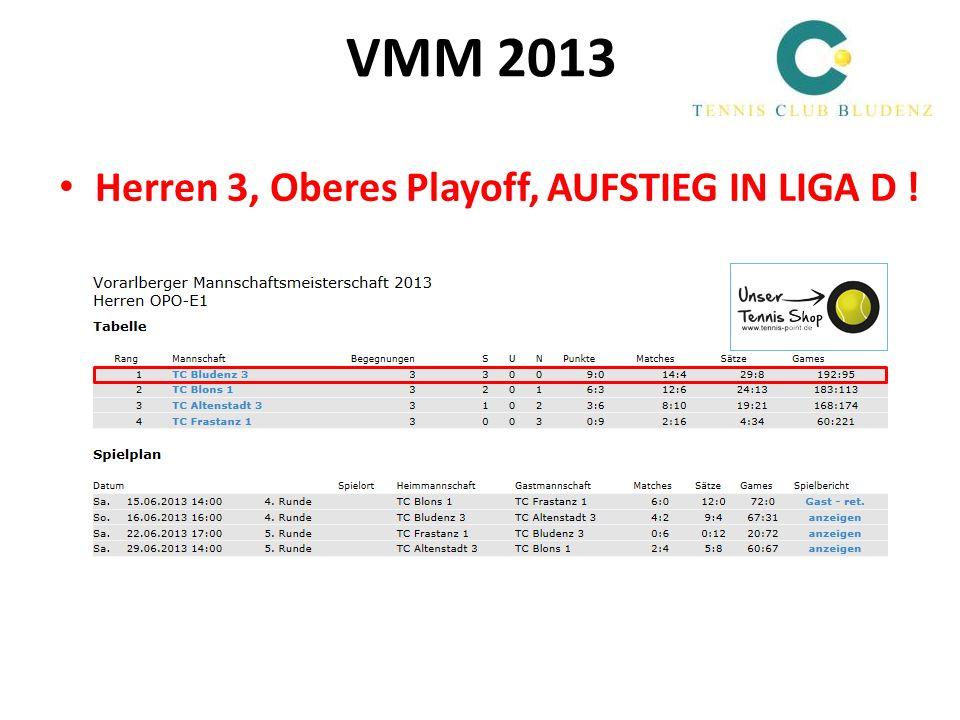 VMM 2013 Herren 3, Oberes Playoff, AUFSTIEG IN LIGA D !