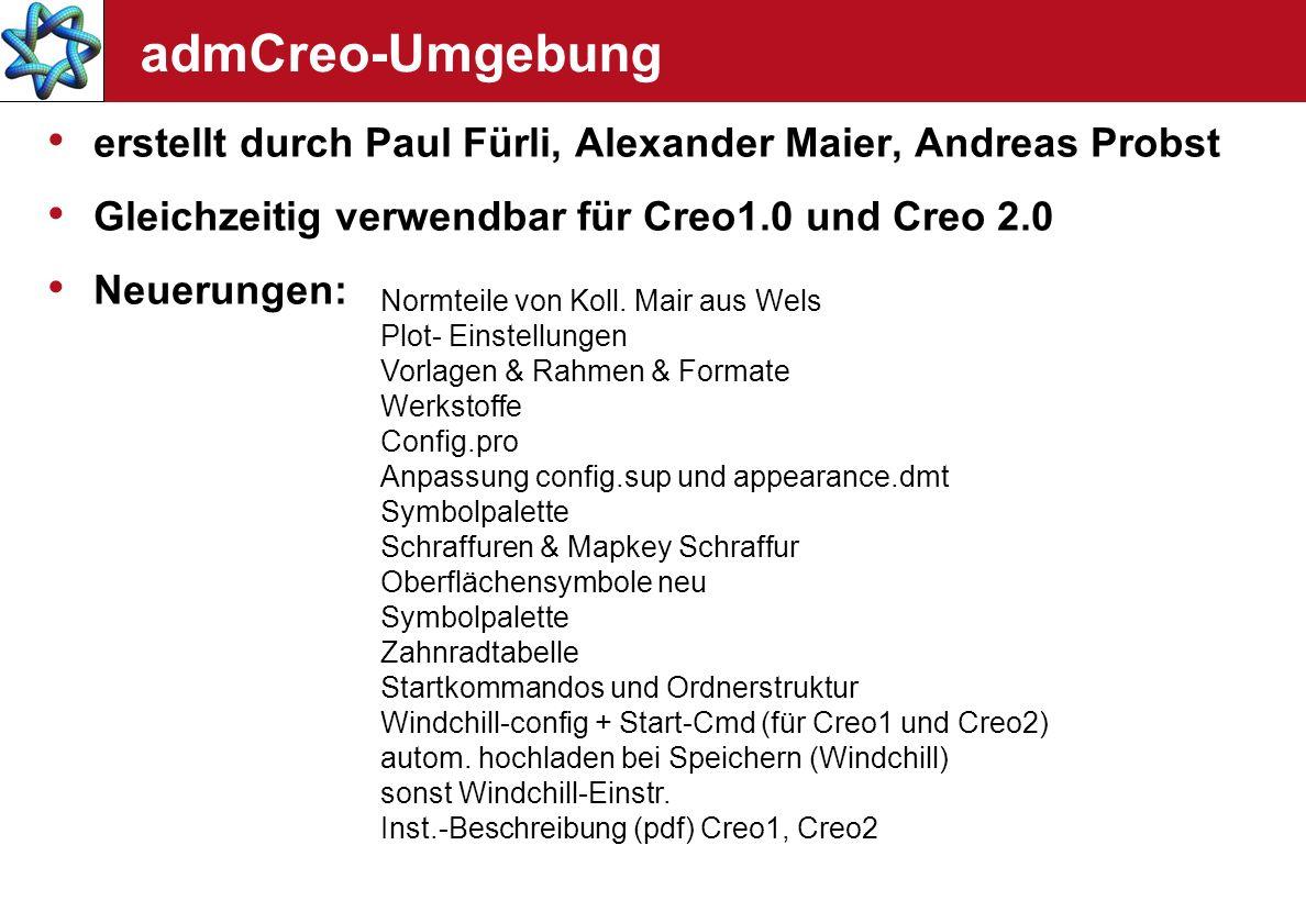 admCreo-Umgebung erstellt durch Paul Fürli, Alexander Maier, Andreas Probst. Gleichzeitig verwendbar für Creo1.0 und Creo 2.0.