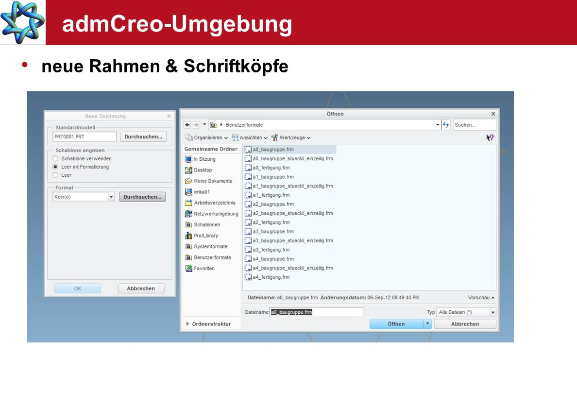 admCreo-Umgebung neue Rahmen & Schriftköpfe