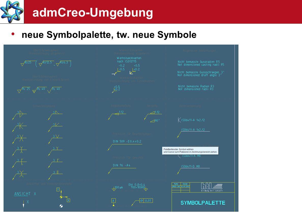 admCreo-Umgebung neue Symbolpalette, tw. neue Symbole