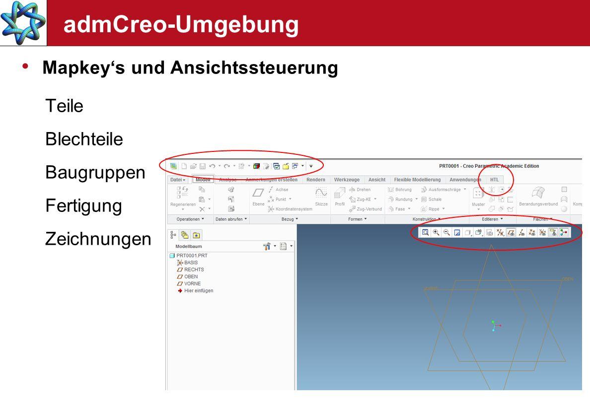 admCreo-Umgebung Mapkey's und Ansichtssteuerung