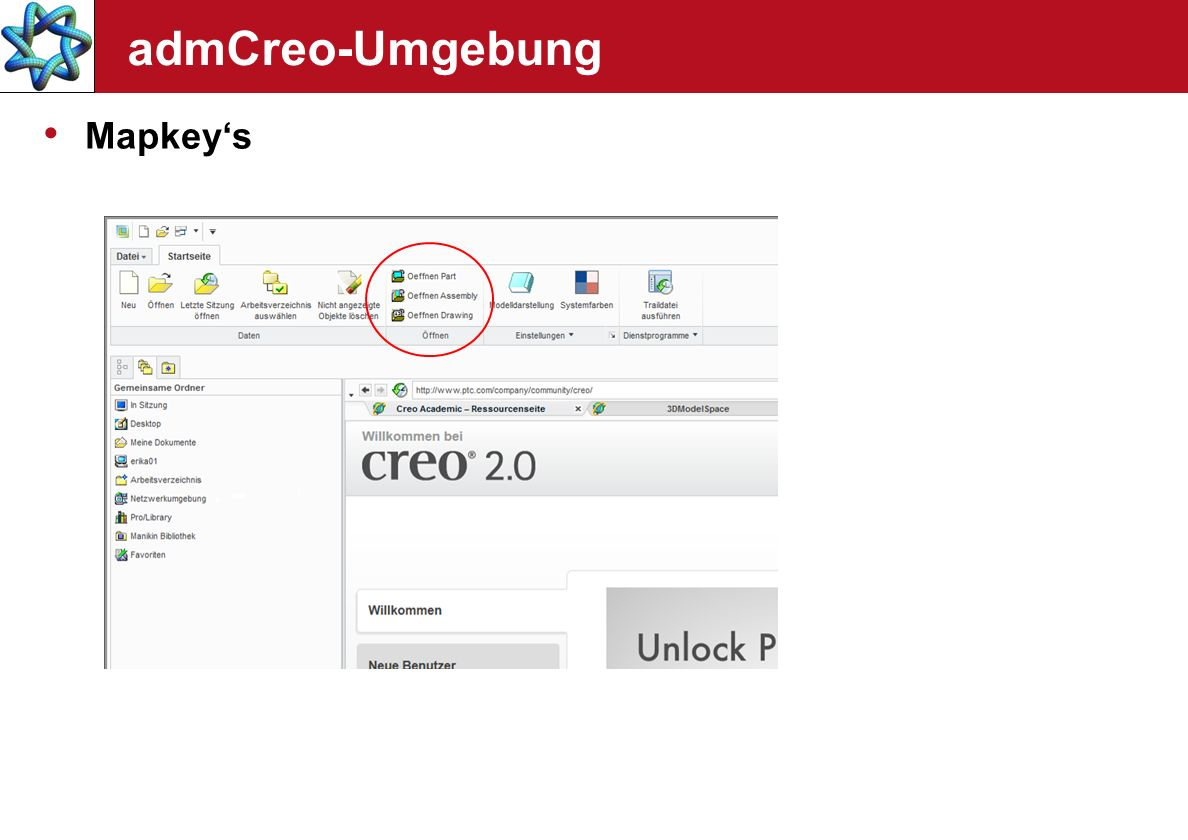 admCreo-Umgebung Mapkey's