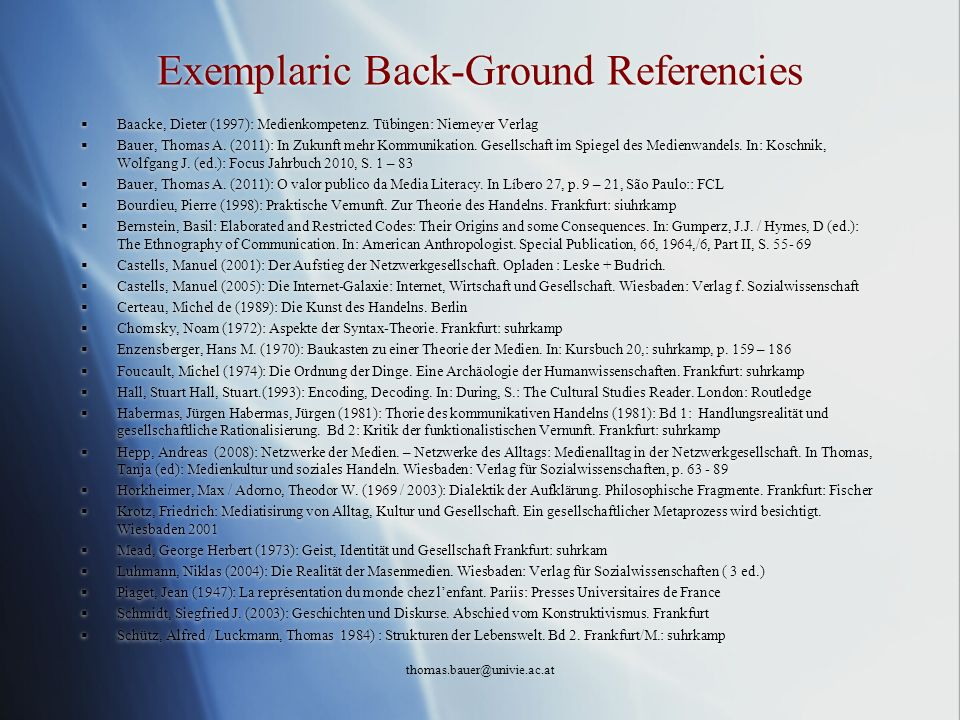 Exemplaric Back-Ground Referencies