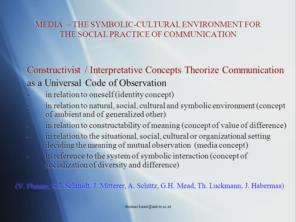 Constructivist / Interpretative Concepts Theorize Communication