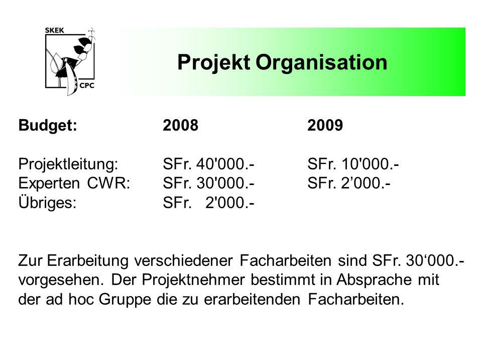 Projekt Organisation Budget: 2008 2009