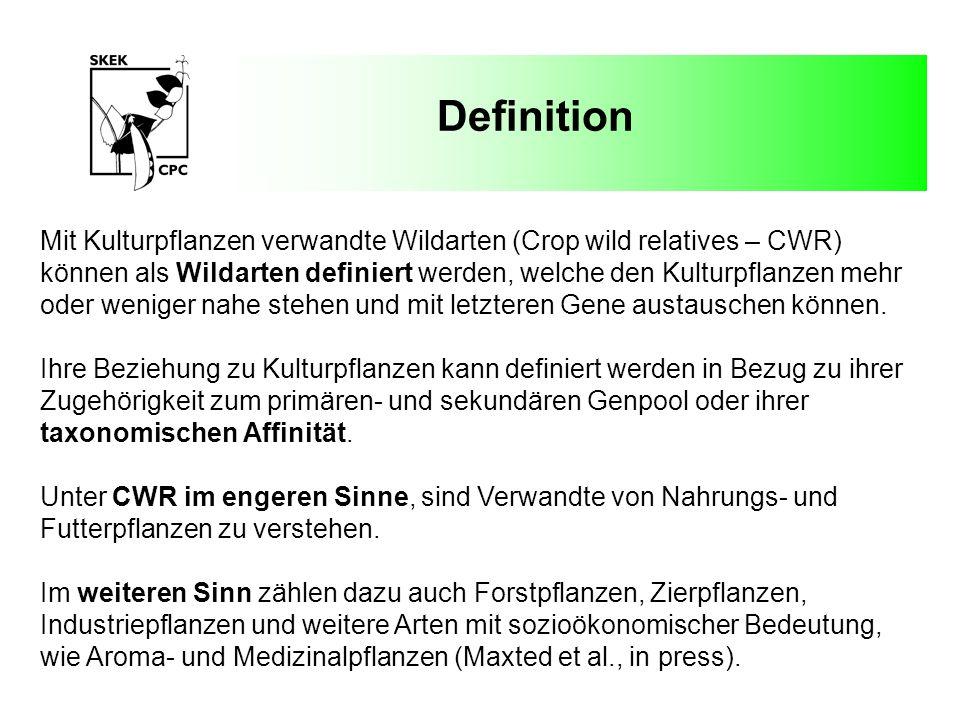 Definition Mit Kulturpflanzen verwandte Wildarten (Crop wild relatives – CWR) können als Wildarten definiert werden, welche den Kulturpflanzen mehr.