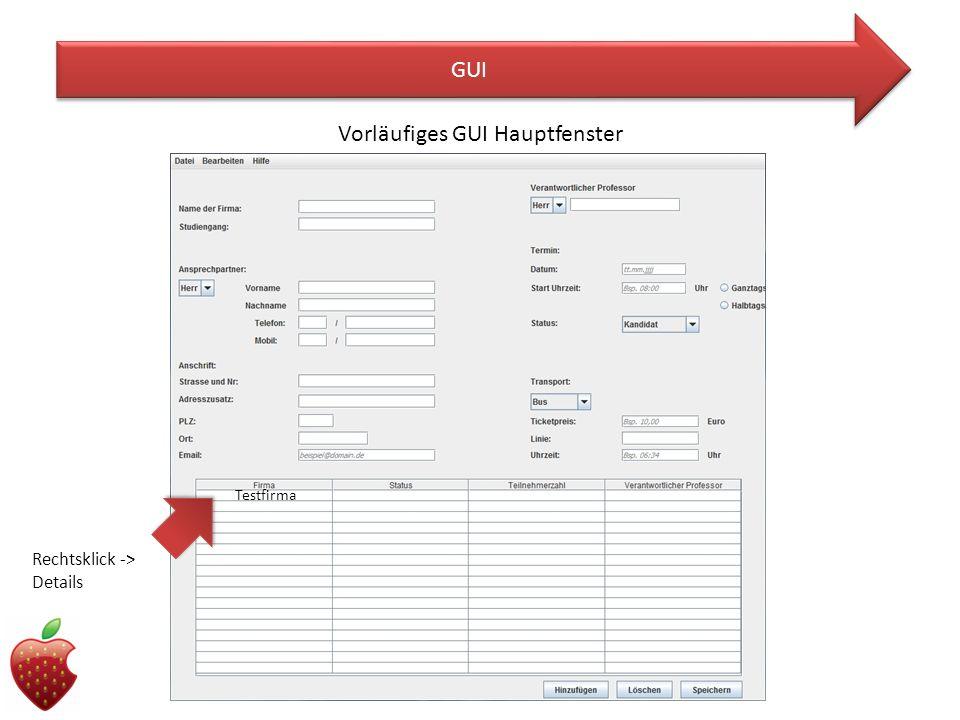 Vorläufiges GUI Hauptfenster