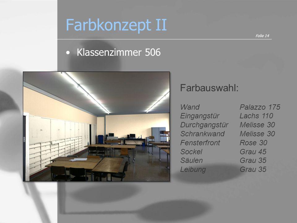 Farbkonzept II Klassenzimmer 506 Farbauswahl: Wand Palazzo 175