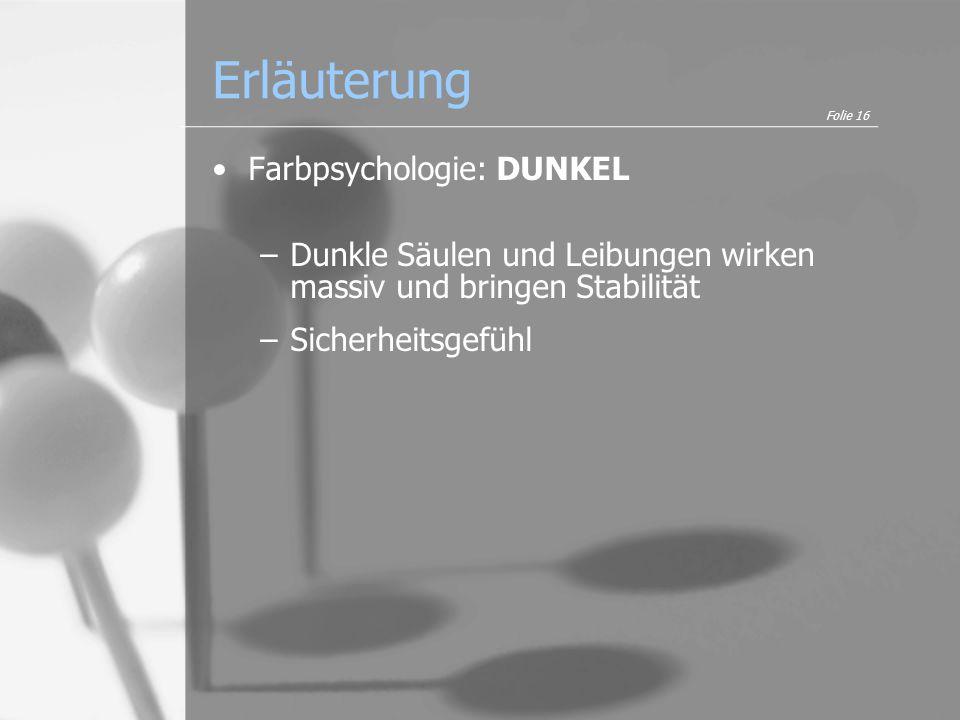 Erläuterung Farbpsychologie: DUNKEL