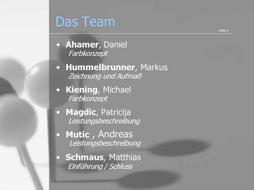 Das Team Ahamer, Daniel Farbkonzept