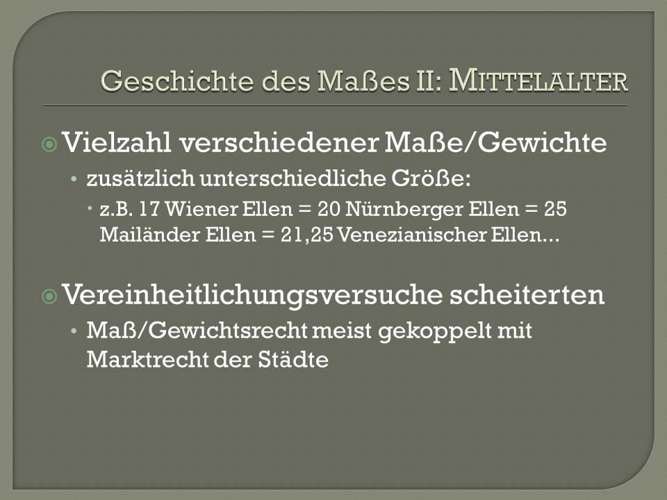 Geschichte des Maßes II: Mittelalter