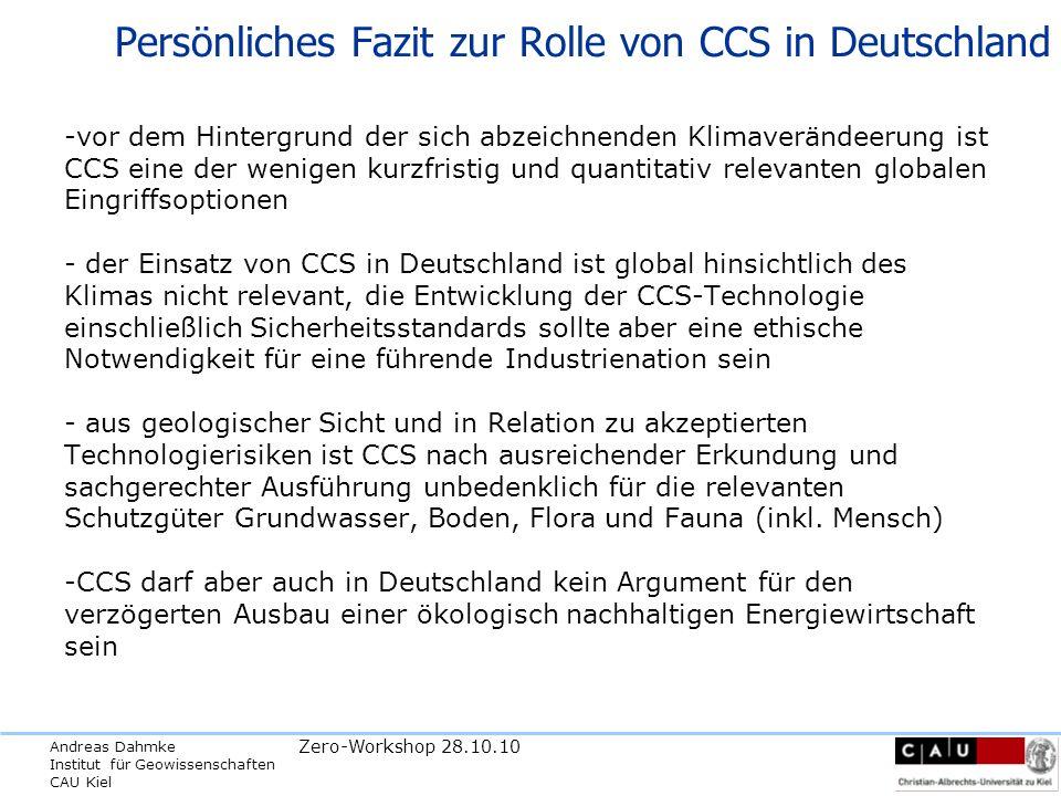 Persönliches Fazit zur Rolle von CCS in Deutschland