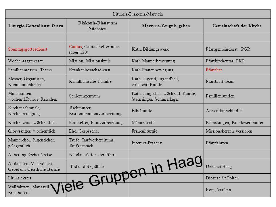 Viele Gruppen in Haag Liturgia-Diakonia-Martyria