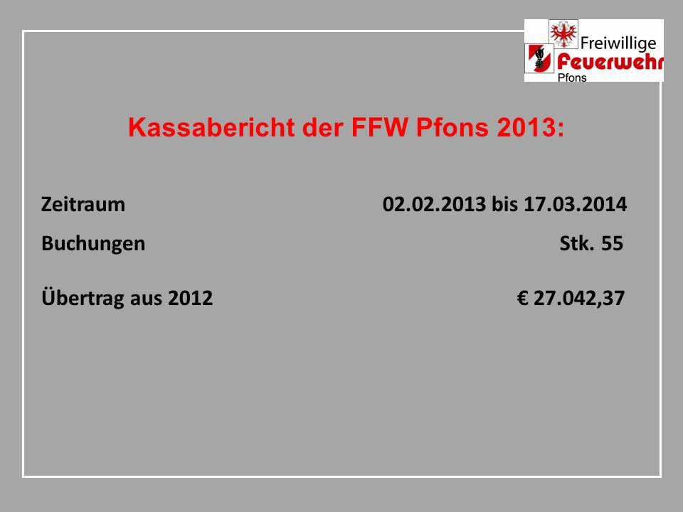 Kassabericht der FFW Pfons 2013: