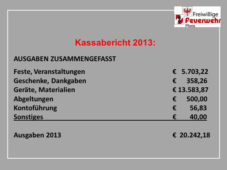 Kassabericht 2013: AUSGABEN ZUSAMMENGEFASST