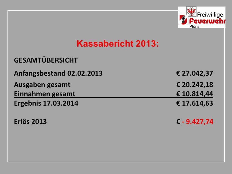 Kassabericht 2013: GESAMTÜBERSICHT