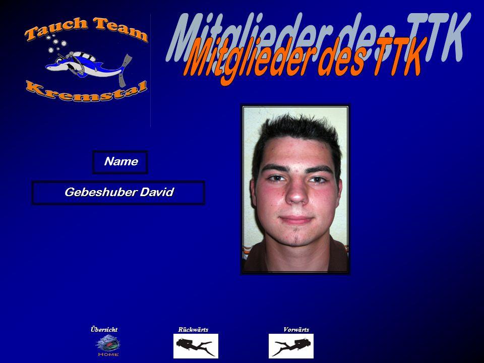Mitglieder des TTK Name Glasauer Christoph Übersicht Rückwärts