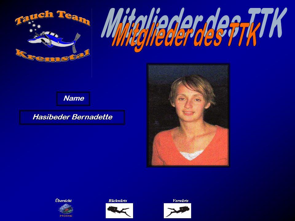 Mitglieder des TTK Name Hinterreiter Harald Übersicht Rückwärts