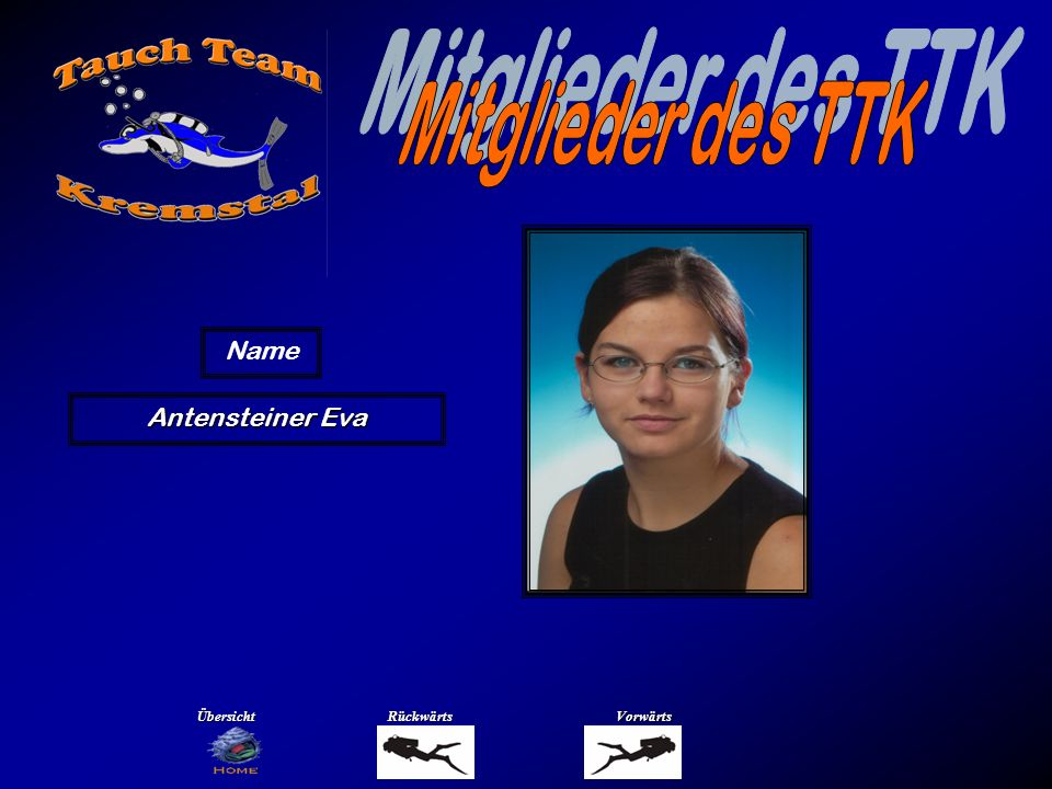 Mitglieder des TTK Name Antensteiner Markus Übersicht Rückwärts