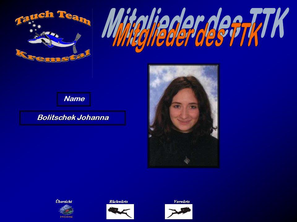 Mitglieder des TTK Name Brandtmayr Susi Übersicht Rückwärts Vorwärts