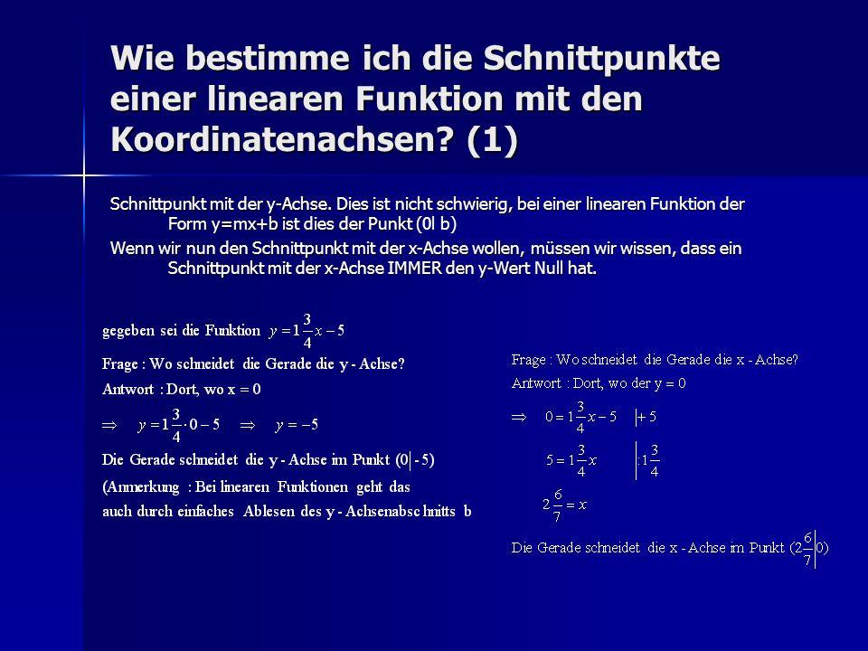 Wie bestimme ich die Schnittpunkte einer linearen Funktion mit den Koordinatenachsen (1)