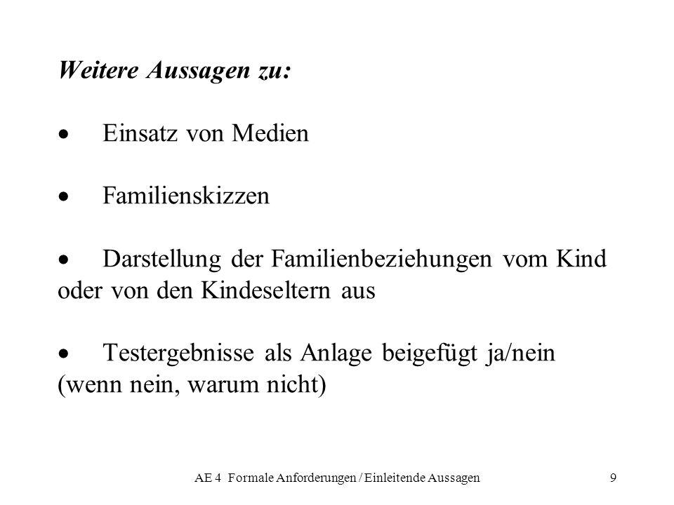AE 4 Formale Anforderungen / Einleitende Aussagen