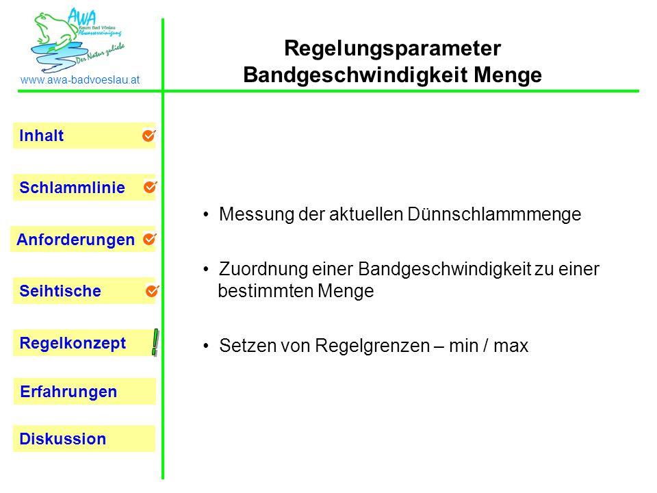 Regelungsparameter Bandgeschwindigkeit Menge