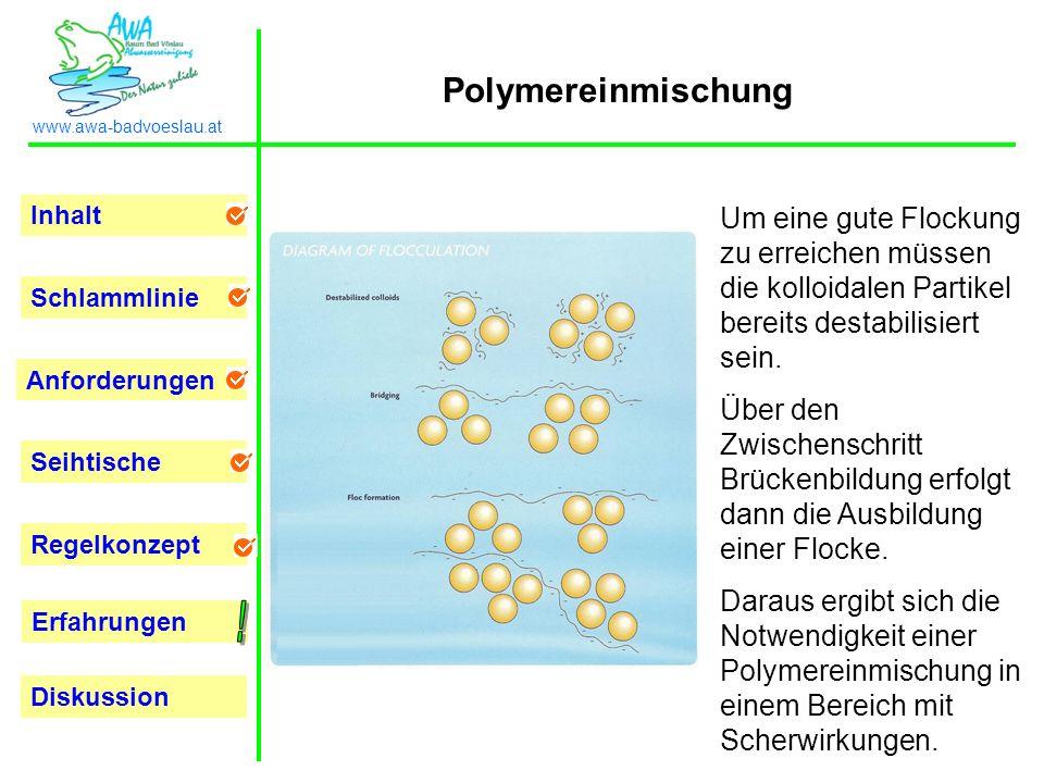 Polymereinmischung Um eine gute Flockung zu erreichen müssen die kolloidalen Partikel bereits destabilisiert sein.