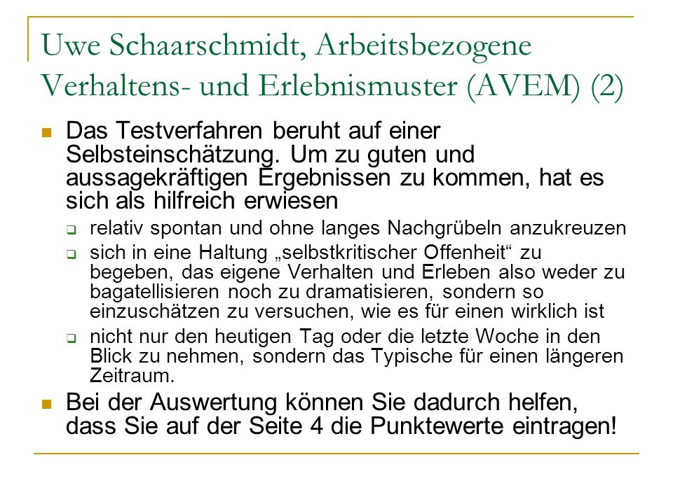 Uwe Schaarschmidt, Arbeitsbezogene Verhaltens- und Erlebnismuster (AVEM) (2)