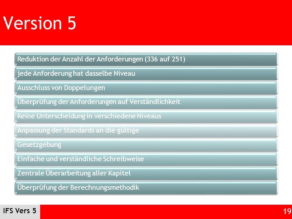 Version 5 Reduktion der Anzahl der Anforderungen (336 auf 251) jede Anforderung hat dasselbe Niveau.