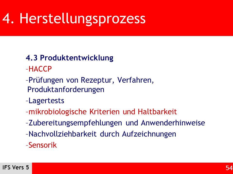 4. Herstellungsprozess 4.3 Produktentwicklung HACCP