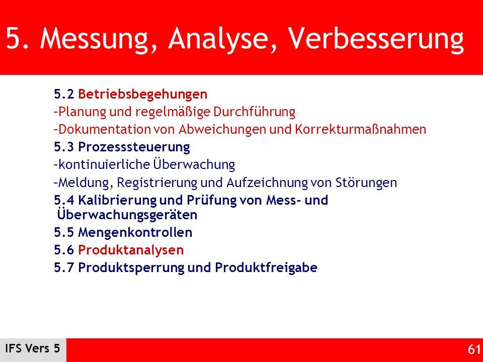 5. Messung, Analyse, Verbesserung
