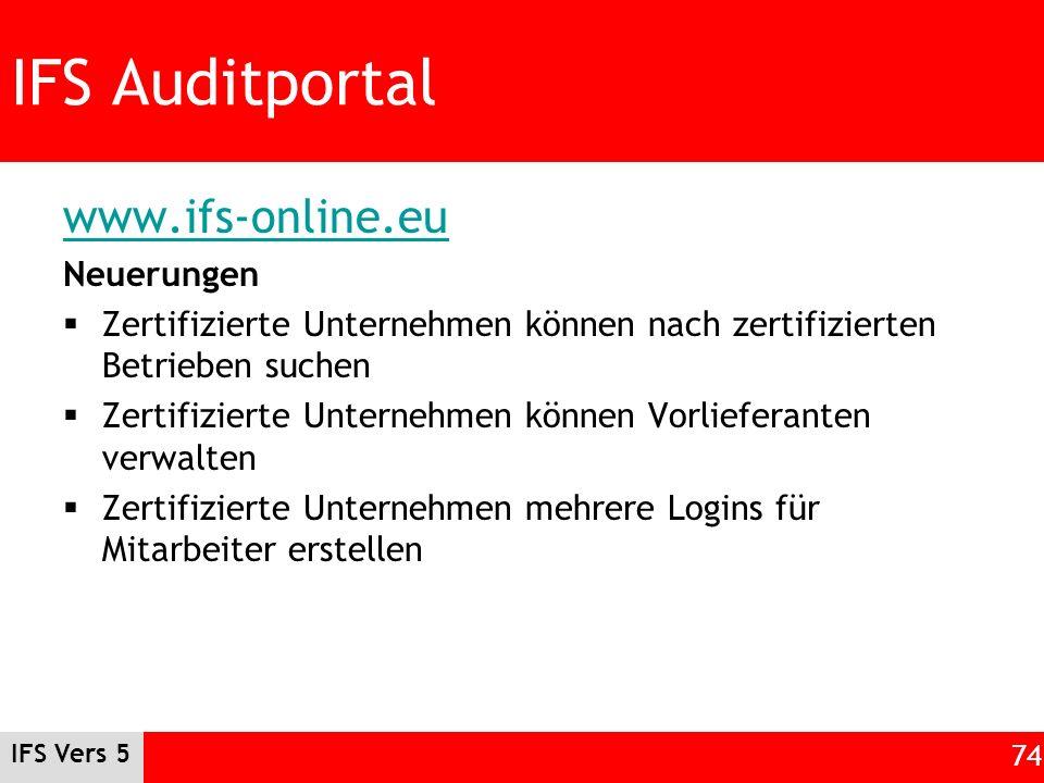 IFS Auditportal www.ifs-online.eu Neuerungen