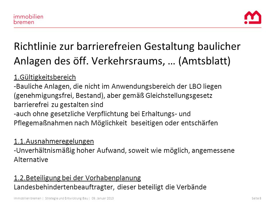 Richtlinie zur barrierefreien Gestaltung baulicher Anlagen des öff
