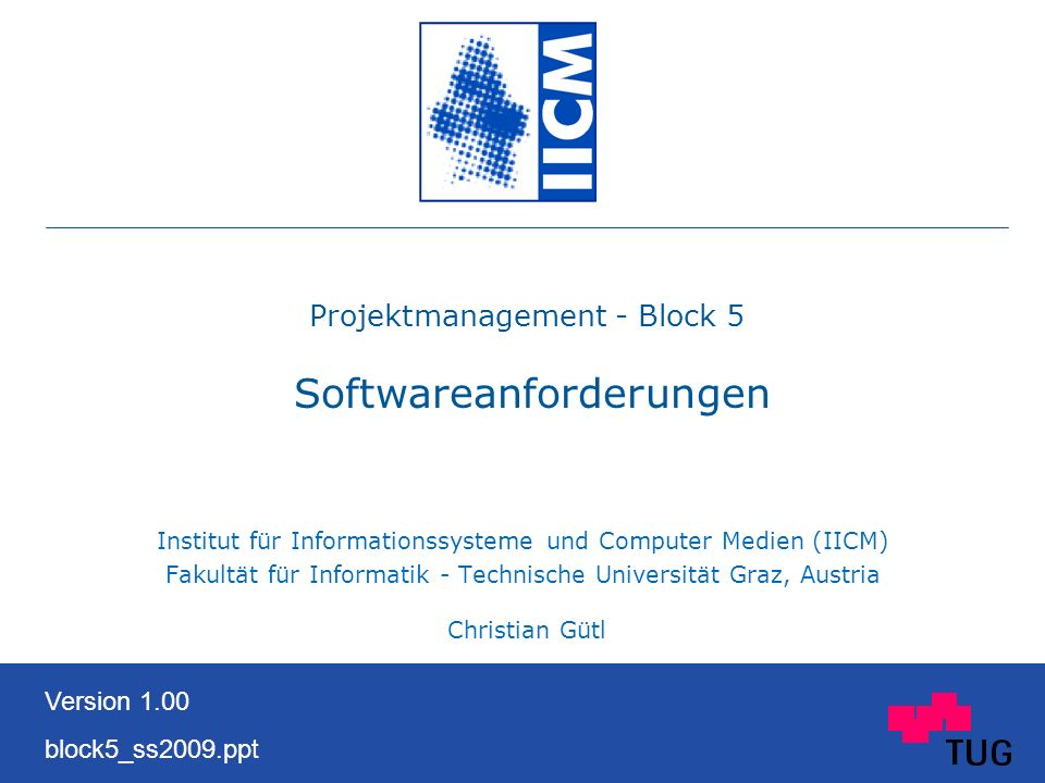Projektmanagement - Block 5 Softwareanforderungen
