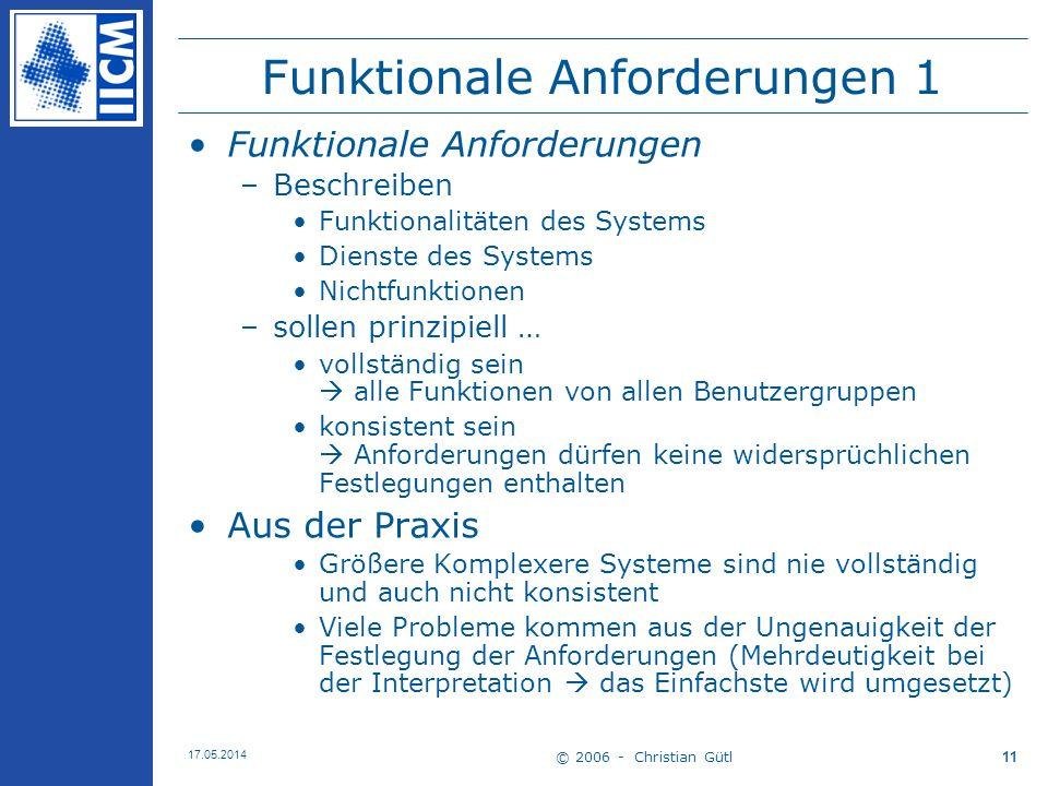 Funktionale Anforderungen 1