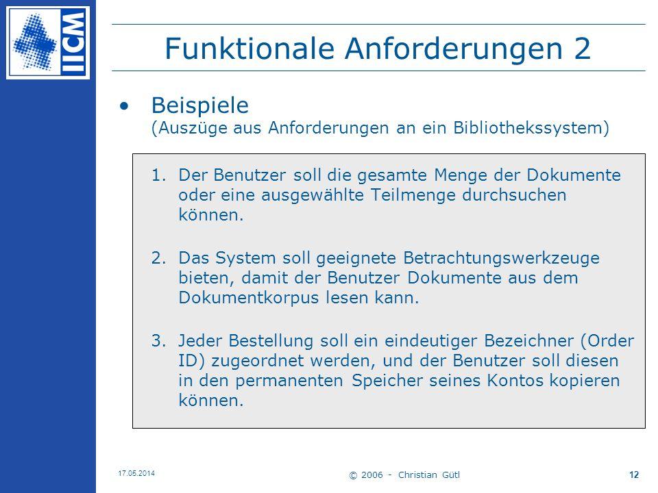 Funktionale Anforderungen 2