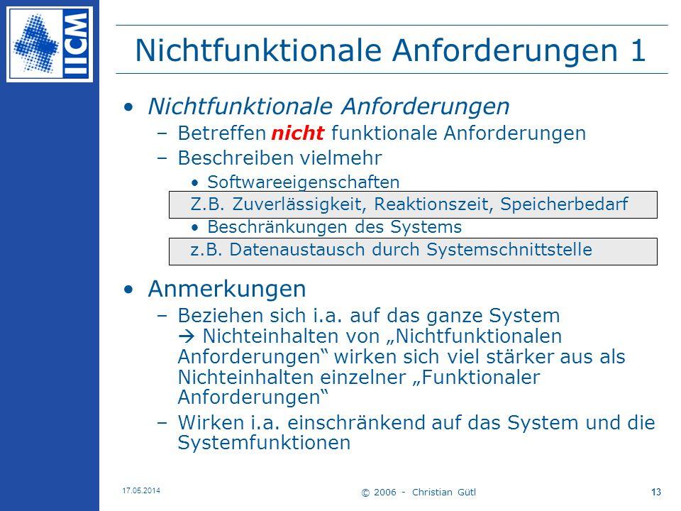 Nichtfunktionale Anforderungen 1