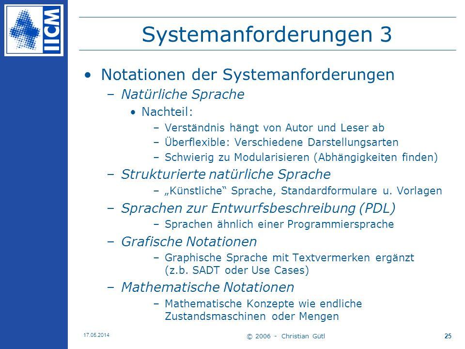 Systemanforderungen 3 Notationen der Systemanforderungen