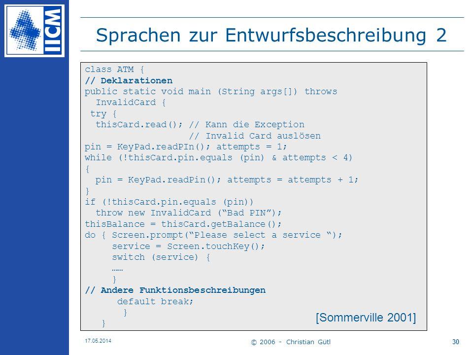 Sprachen zur Entwurfsbeschreibung 2