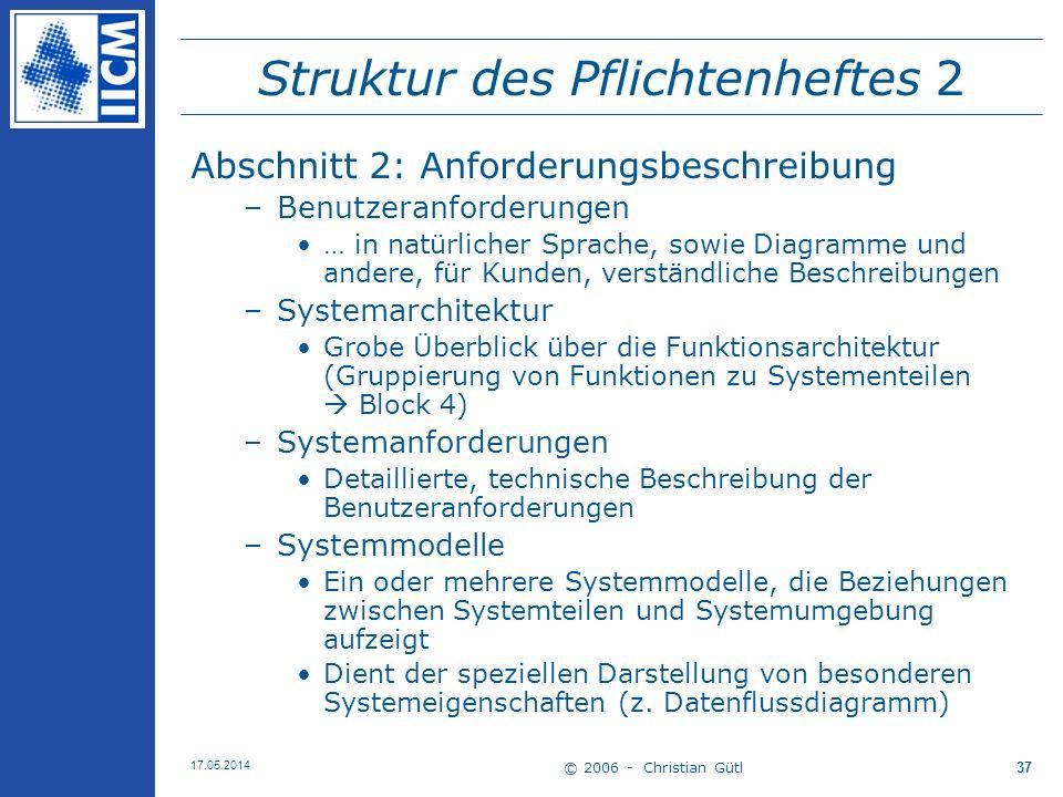 Struktur des Pflichtenheftes 2