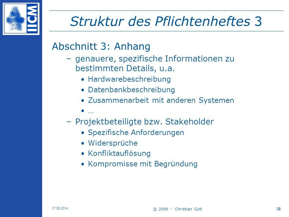 Struktur des Pflichtenheftes 3