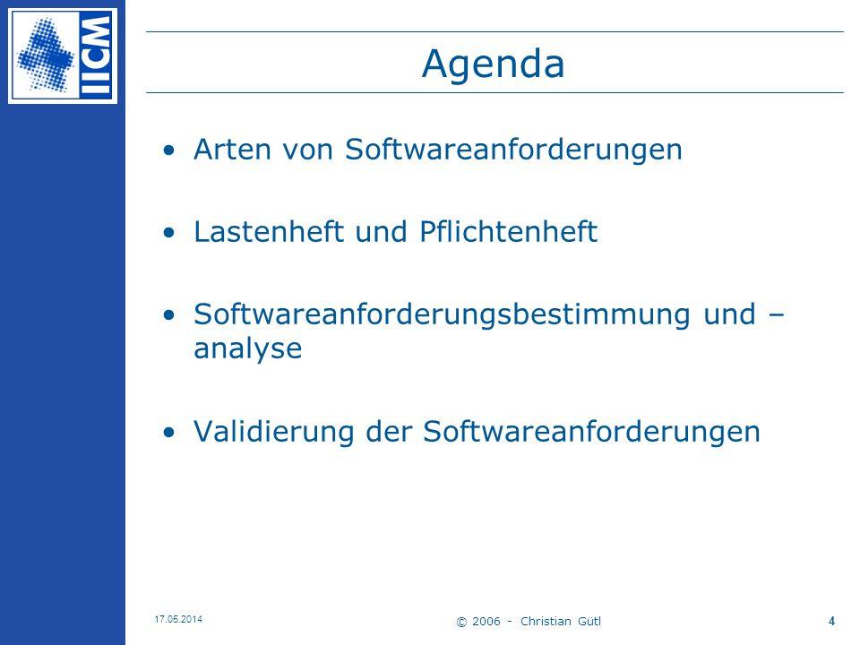 Agenda Arten von Softwareanforderungen Lastenheft und Pflichtenheft