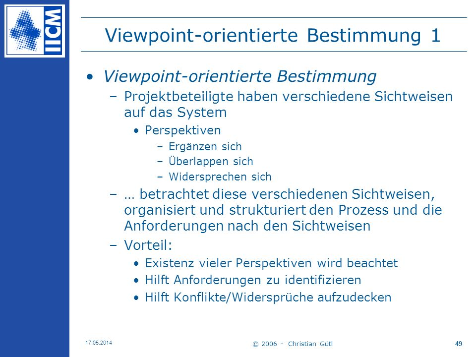 Viewpoint-orientierte Bestimmung 1